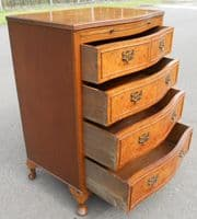 SOLD - Small Walnut Serpentine Fronted Chest of Drawers
